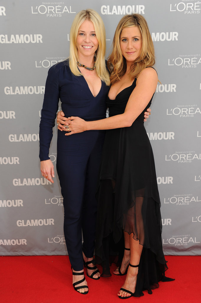 "Jennifer Aniston and Chelsea Handler have grown close over the last few years and even have taken vacations to Cabo together. Jennifer presented Chelsea with a Glamour Woman of the Year honor in 2012. At the show, Jen said, ""I rarely comment on my personal life. But I'm here to tell you, I'm madly in love. I'm madly in love with the one and only Chelsea Handler."""