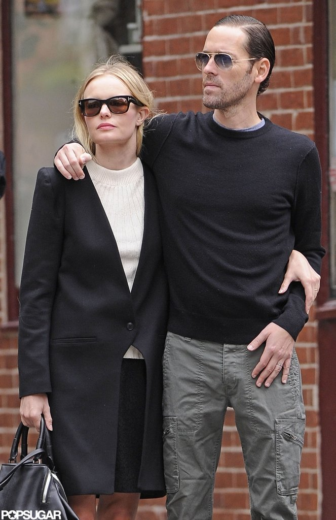Kate Bosworth walked the streets of the West Village while staying close to boyfriend Michael Polish in NYC.