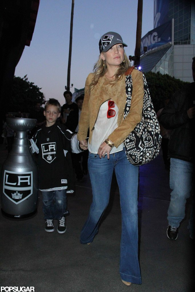 Kate Hudson checked out the game with son Ryder Robinson.