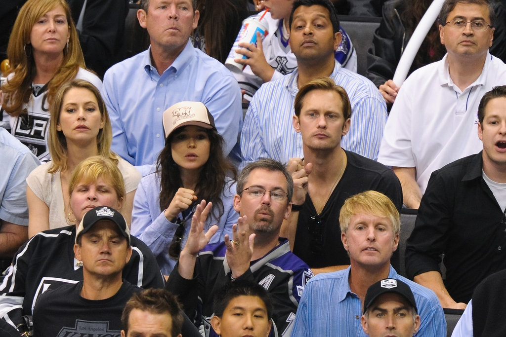 Alexander Skarsgard and Ellen Page sat next to each other at the LA Kings Stanley Cup finals game in LA.