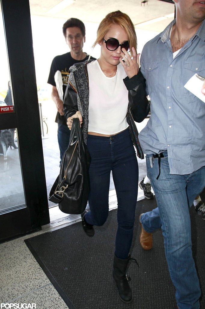 Miley Cyrus arrived at LAX for her flight.