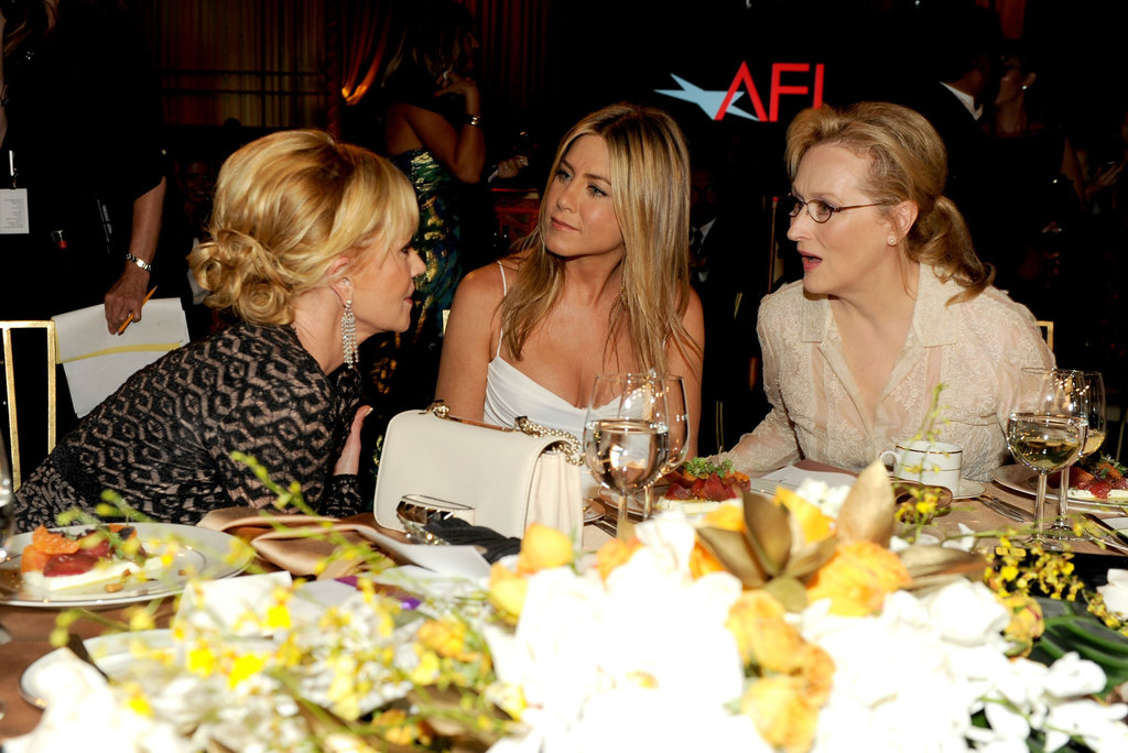 Jennifer Aniston at an AFI gala with Meryl Streep and Melanie Griffith.