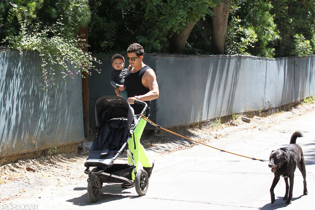 Orlando Bloom and Flynn walked with their dog in LA.
