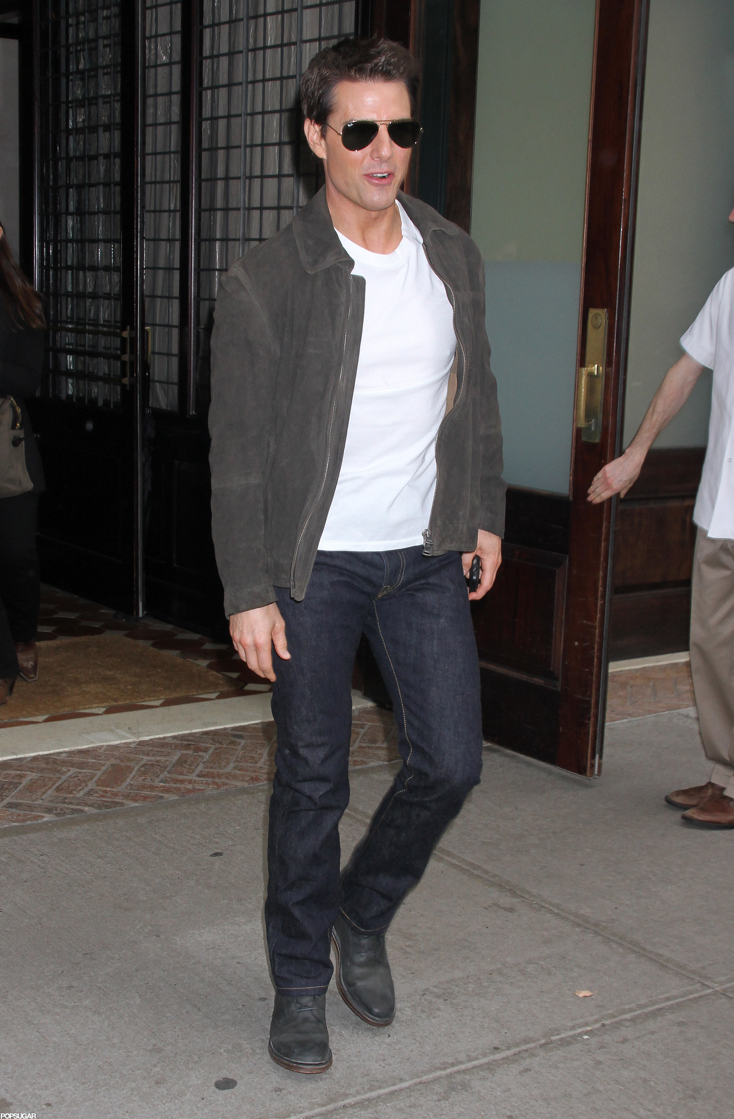 Tom Cruise kept it casual in jeans in NYC.