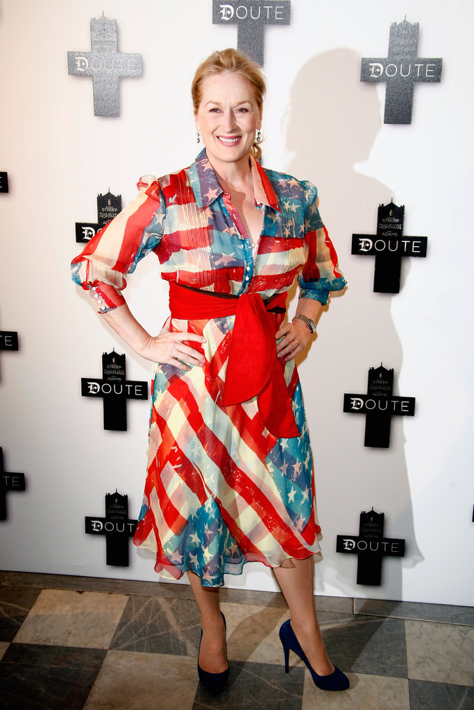 Meryl Streep was wrapped in a flag dress at the Paris premiere of Doubt in January 2009.