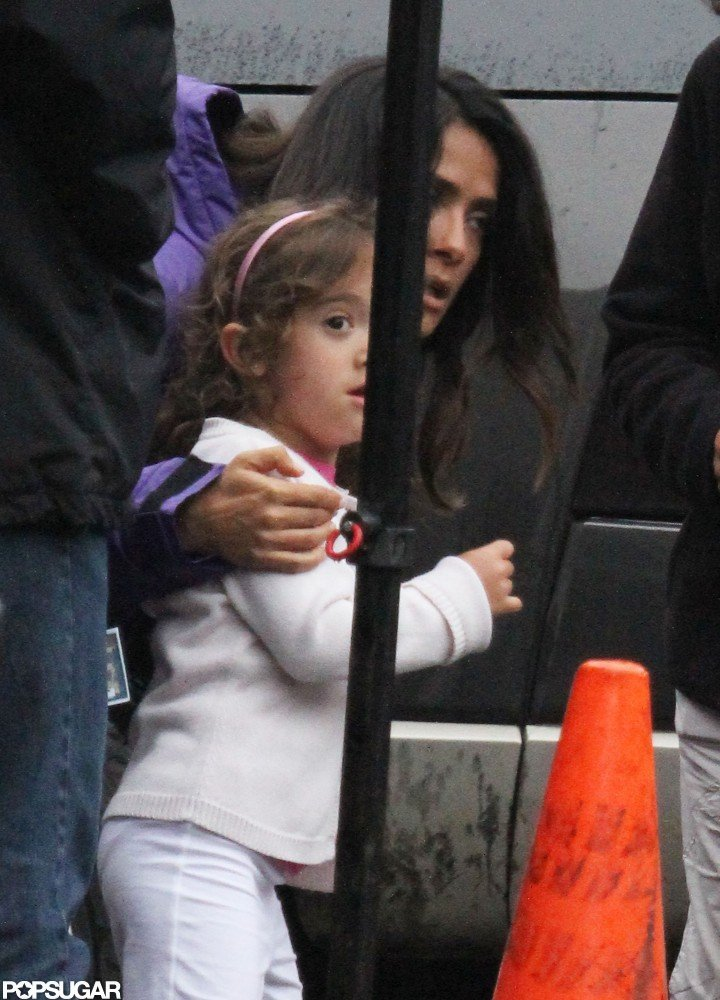 Salma Hayek hugged daughter Valentina Pinault on the Boston set of Grown Ups 2.