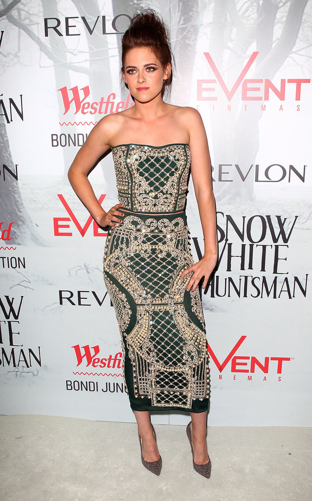 A vision in Balmain for the Bondi Junction premiere of Snow White and the Huntsman, we loved Kristen Stewart's grown-up look. A mid-riff baring ensemble is hard to wear, but she rocked it.
