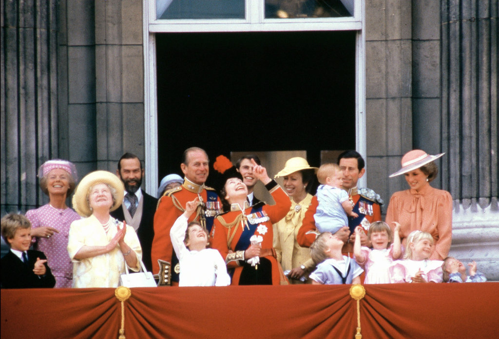 Prince William and Prince Harry watched the ceremonies of the Trooping the Colour at Buckingham Palace in June 1985 with their extended family, as well as mom Princess Diana and dad Prince Charles.