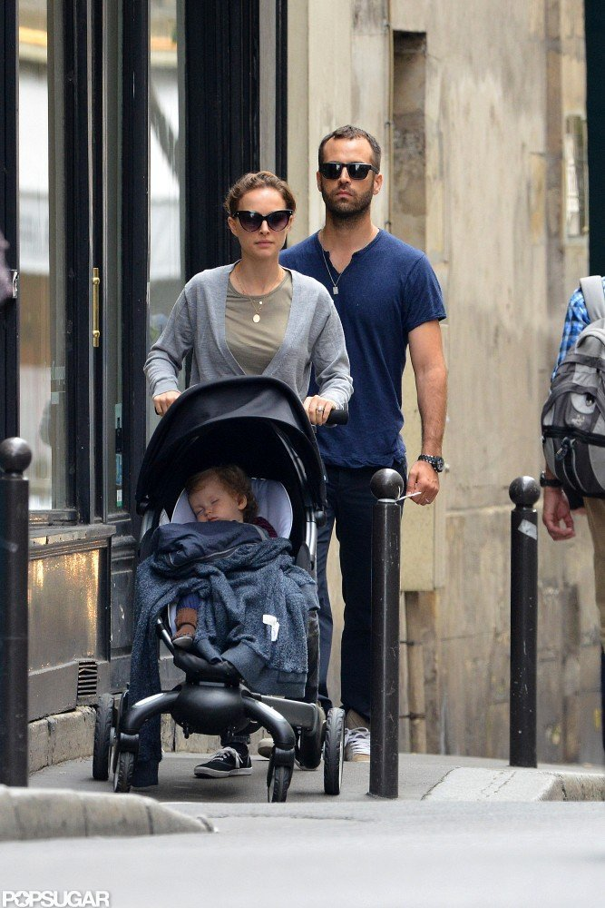 Natalie Portman and her husband, Benjamin Millepied, took Aleph out in Paris.