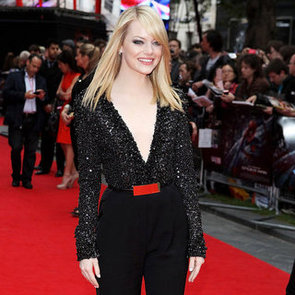 Emma Stone Plunging Elie Saab Jumpsuit Pictures With Andrew Garfield at London Spider-Man Premiere