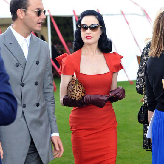 Dita Von Teese Red Dress Leopard Pumps