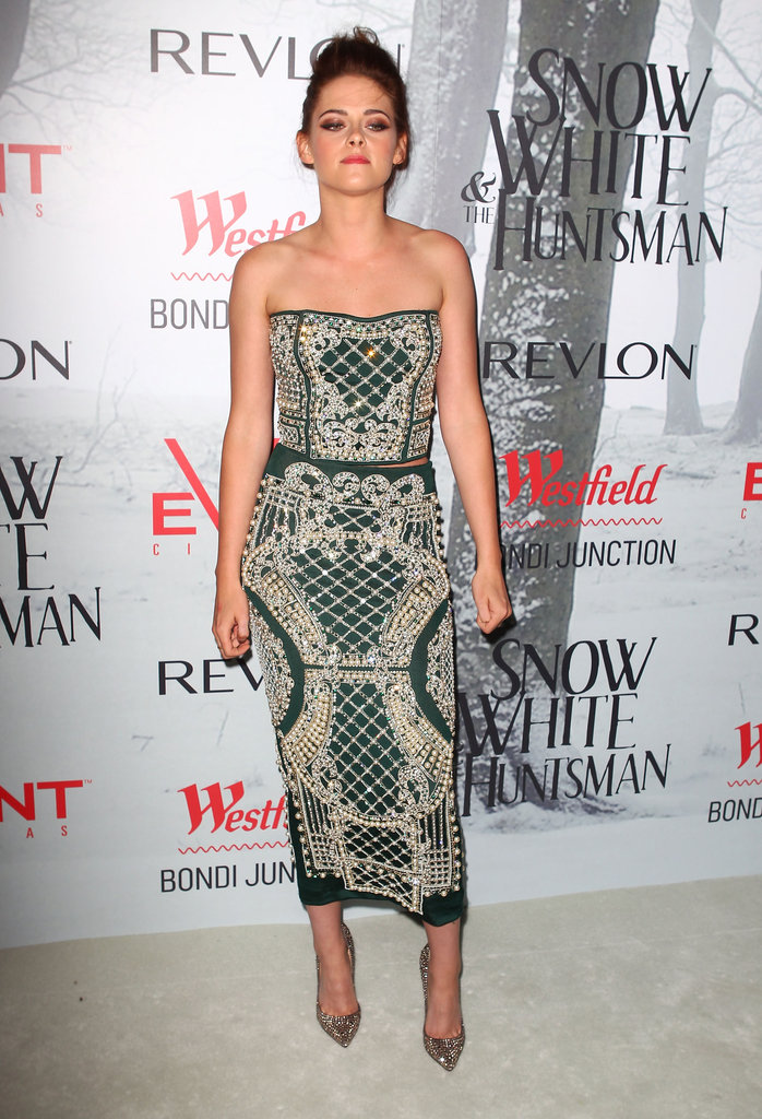 Kristen Stewart wore Balmain at a Snow White and the Huntsman premiere.