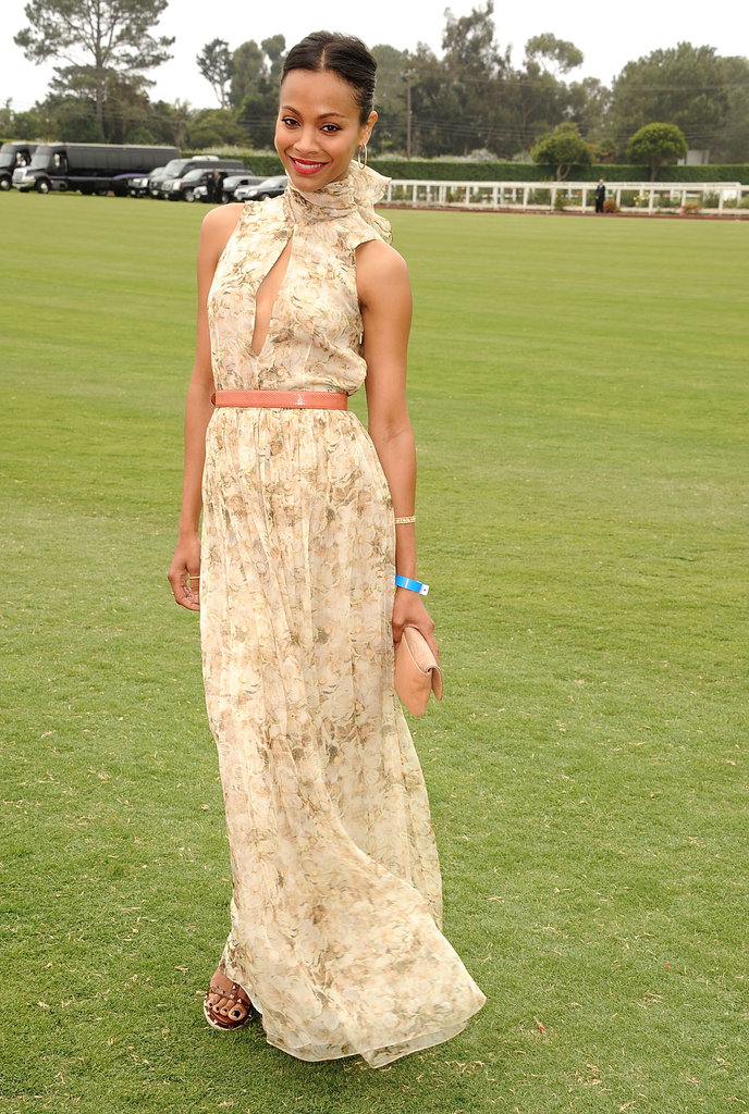 For a 2011 Santa Barbara polo match, Zoe Saldana chose a high-neck floral Chloé dress, Valentino heels, and a Lanvin clutch.