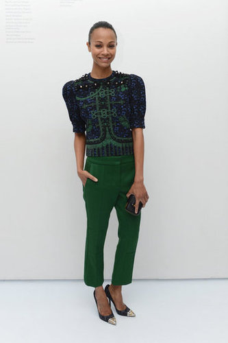 She rocked this cool Louis Vuitton Pre-Fall 2012 look with the designer's popular cap-toe pumps at the Persol party in NYC.