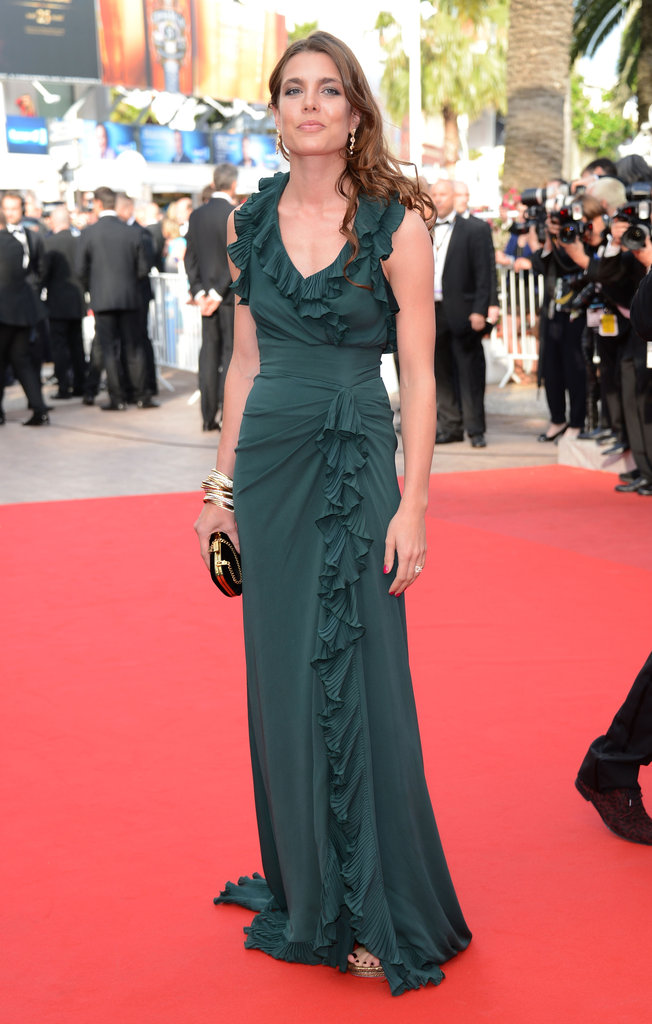 This red-carpet moment has glamazon written all over it. Charlotte knew exactly how to pull off a chic, standout arrival in a ruffled, jewel-toned gown at Cannes in May 2012.