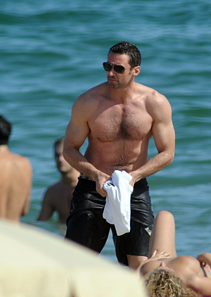 Shirtless Hugh Jackman Hits the Surf in Spain