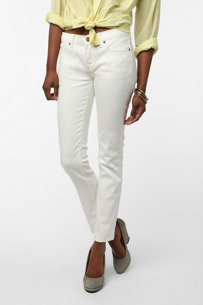 Classic white jeans with an overt Audrey Hepburn-in-Roman Holiday feel. Style with colorful ballet flats or a pair of metallic sandals on the bottom. BDG Cigarette Mid-Rise White Jean ($54)