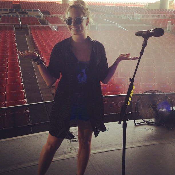 Demi Lovato smiled for the camera during a sound check. Source: Instagram user demetrialovat