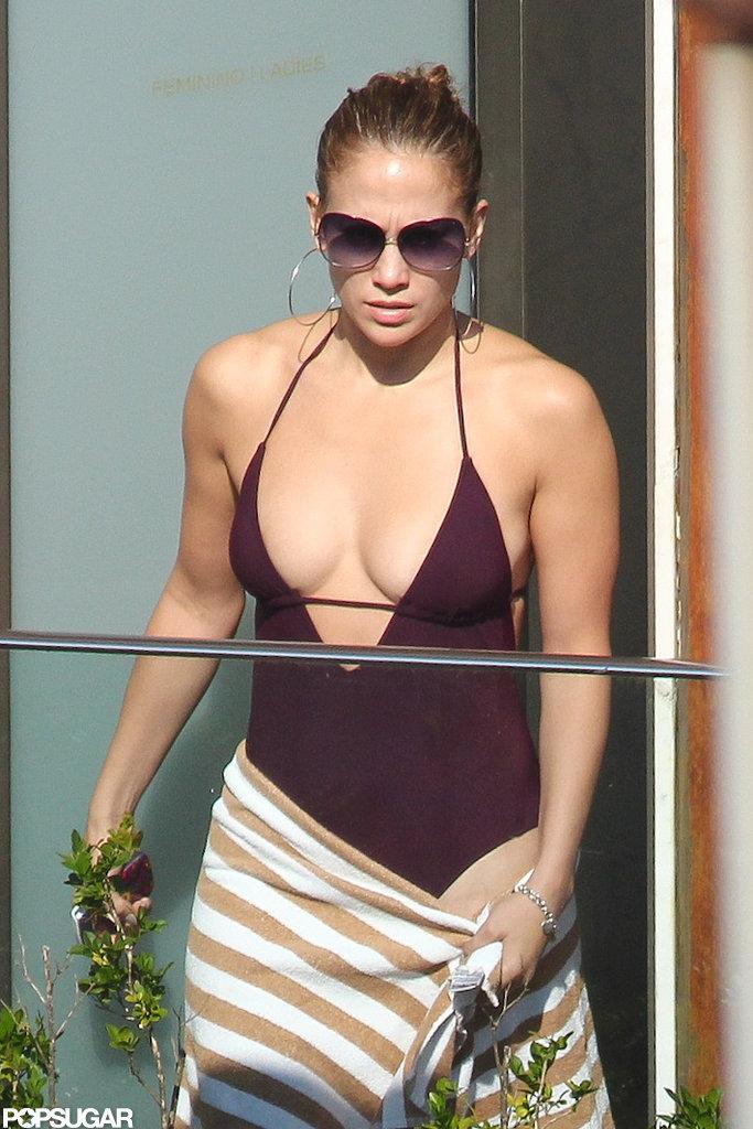 Jennifer Lopez Bathing Suits Jennifer Lopez wore a low-cut