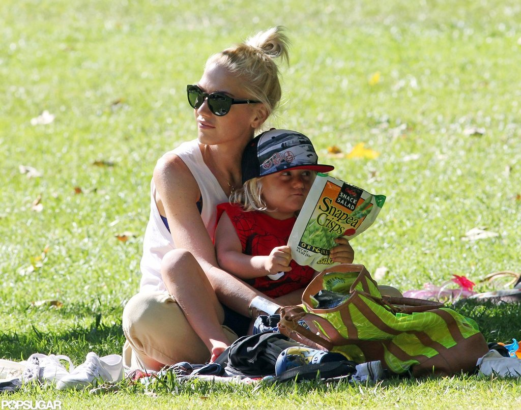 Gwen Stefani and Zuma Rossdale sat together in a park in LA.