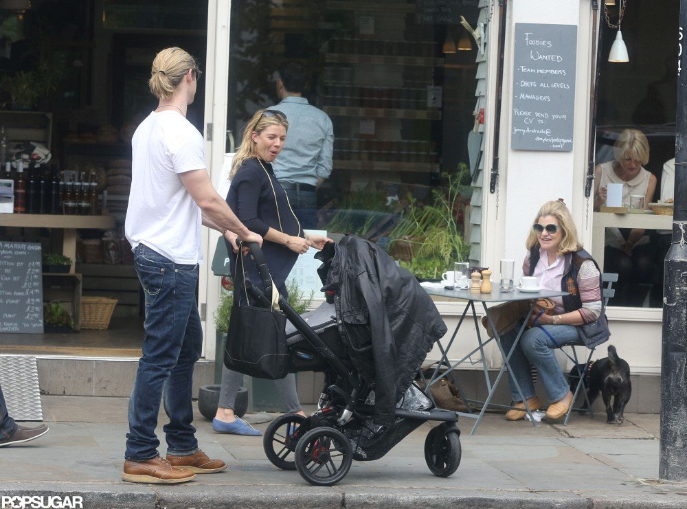 Sienna Miller and her mom had lunch together in London while Chris Hemsworth waited outside of the restaurant with his wife Elsa Pataky.