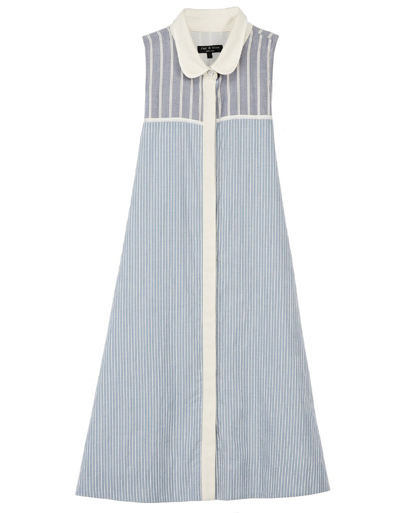 Instead of opting for a more traditional LWD, we fell in love with this lightly striped shirtdress for a more unique approach the the everyday silhouette. Rag & Bone London Dress ($350)