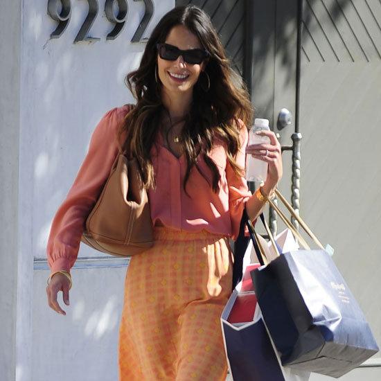 Jordana Brewster Wearing Orange Printed Maxi Skirt