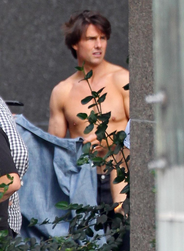 Tom Cruise shared a shirtless moment in LA while shooting an ad for ESPN with Cameron Diaz in June 2010.
