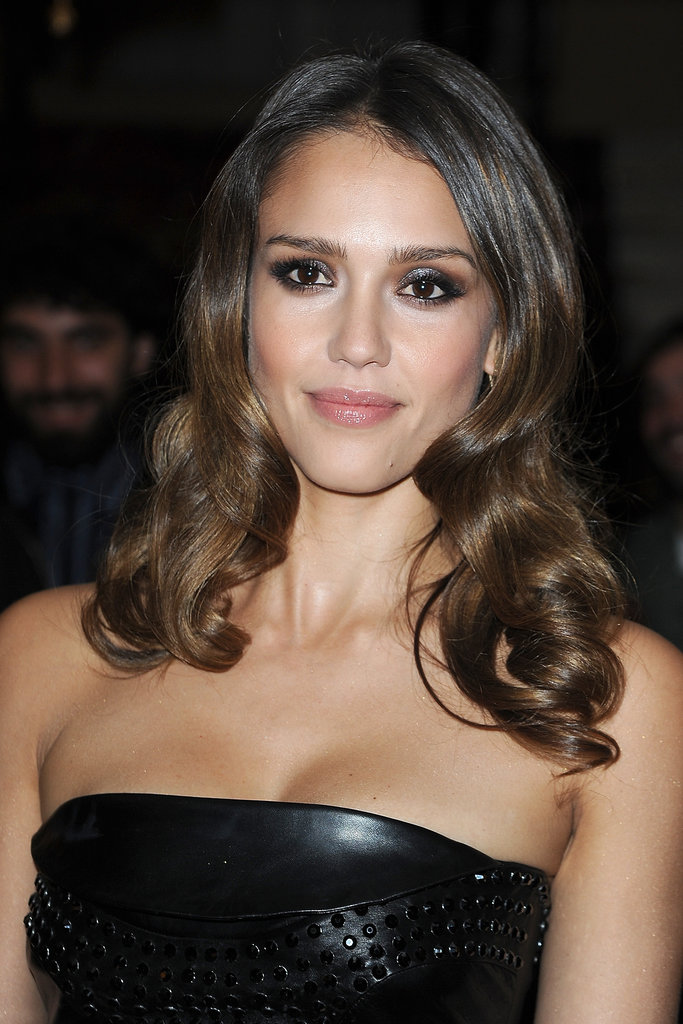 Jessica Alba posed at the Versace show for Paris Fashion Week.
