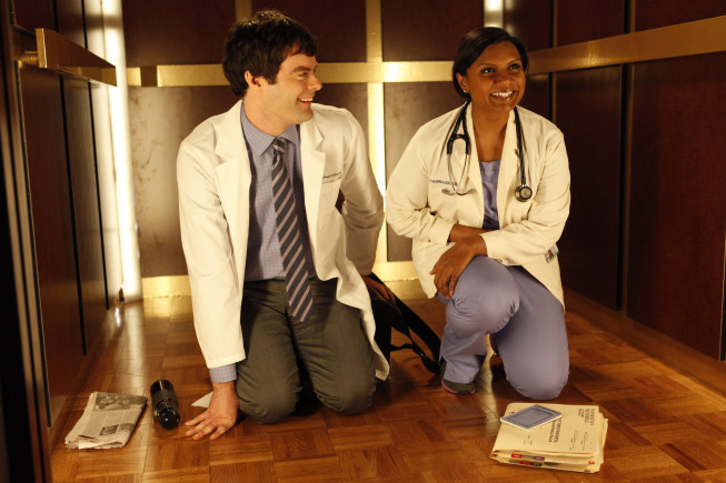 Bill Hader and Mindy Kaling on The Mindy Project.