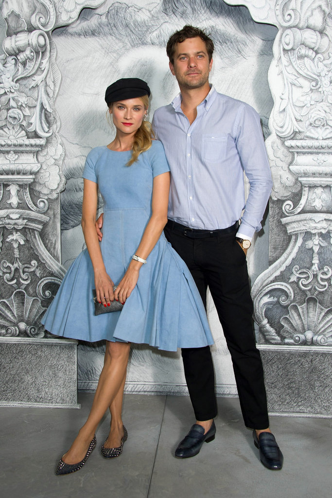 Diane Kruger and boyfriend Joshua Jackson posed together at the Chanel photo call in Paris.