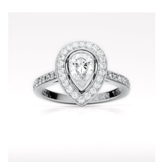 Platinum and pear cut diamond ring, POA , Fairfax & Roberts, stockists: (02) 9232 8510