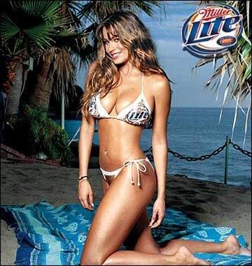 Sofia slipped into a bikini for a Miller Lite ad.
