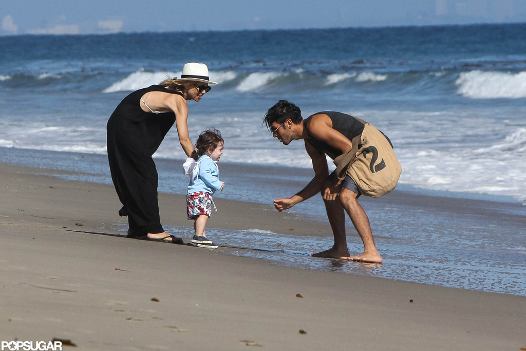 Rachel Zoe and a friend took Skyler to the beach in Malibu, where he showed off his walking skills.