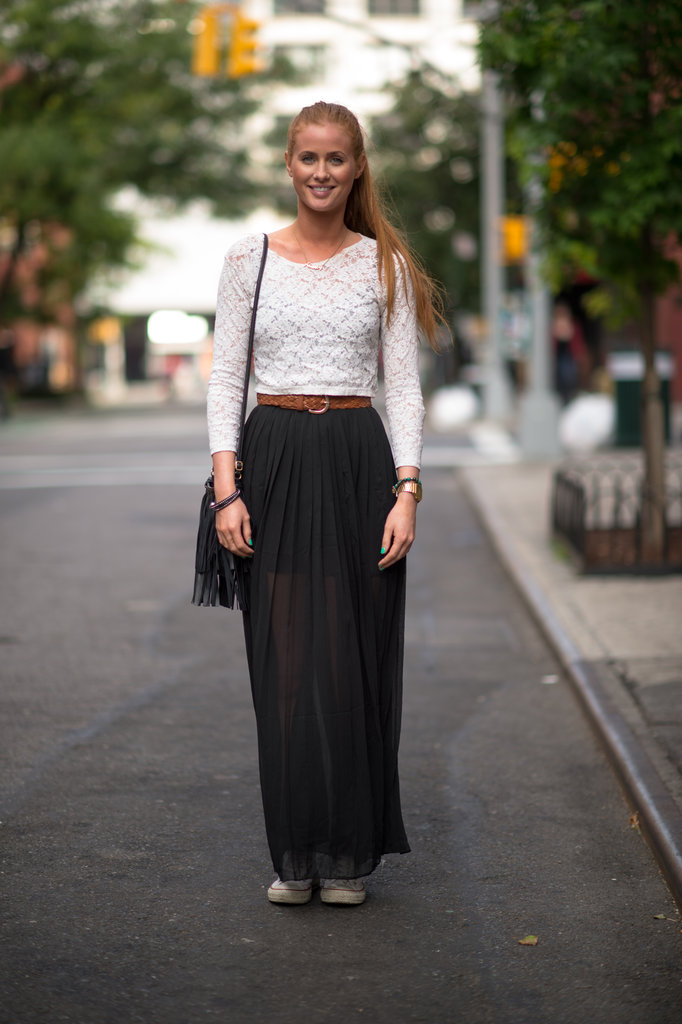Lace, sheer, and Converse played perfectly together to outfit a feminine twist on everyday street style.