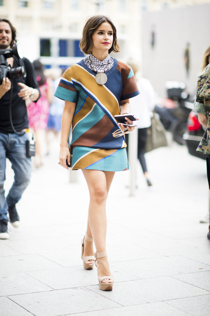 Miroslava Duma gave life to the print-on-print trend — and then some, with her major statement necklace. Photo courtesy of Adam Katz Sinding