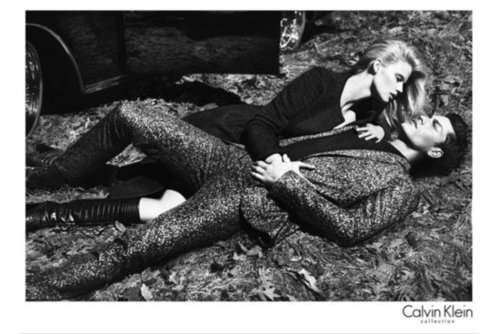 Lara Stone makes sleek minimalism looks sultry and sexy in Calvin Klein's Fall campaign.