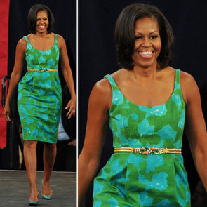 Michelle Obama Wearing a Green and Blue Sheath Dress