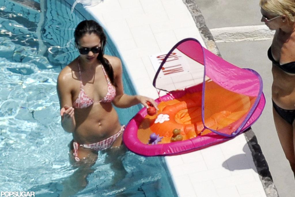 Jessica Alba wore a printed bikini.