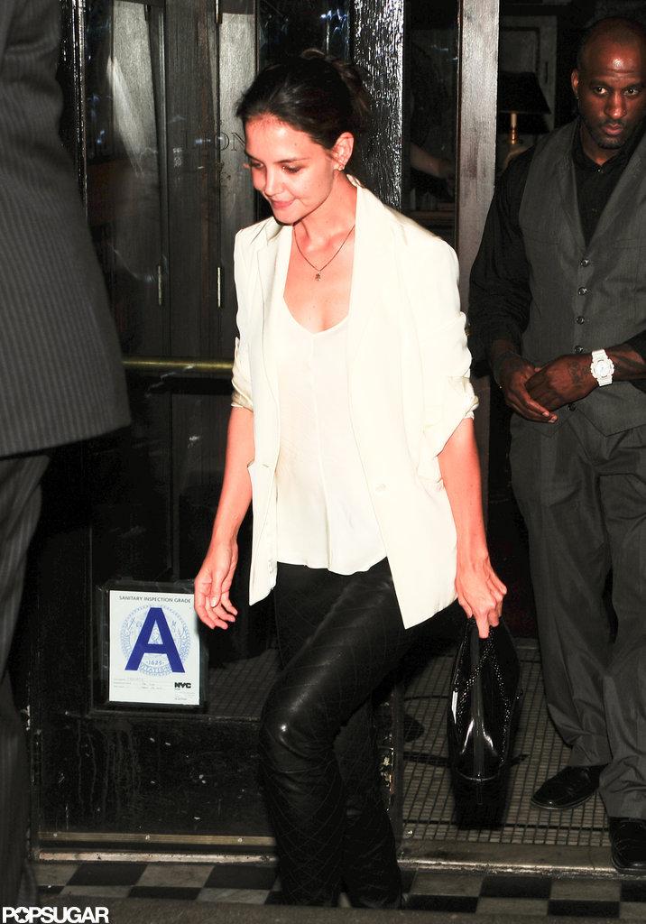 Katie Holmes wore a white blazer.