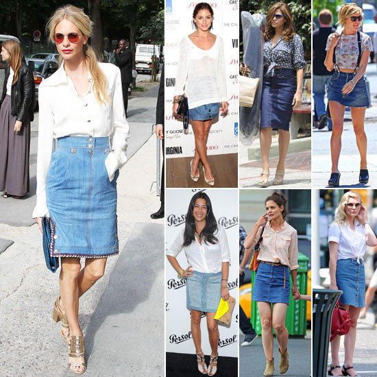 Celebrities Wearing Denim Skirts 2012
