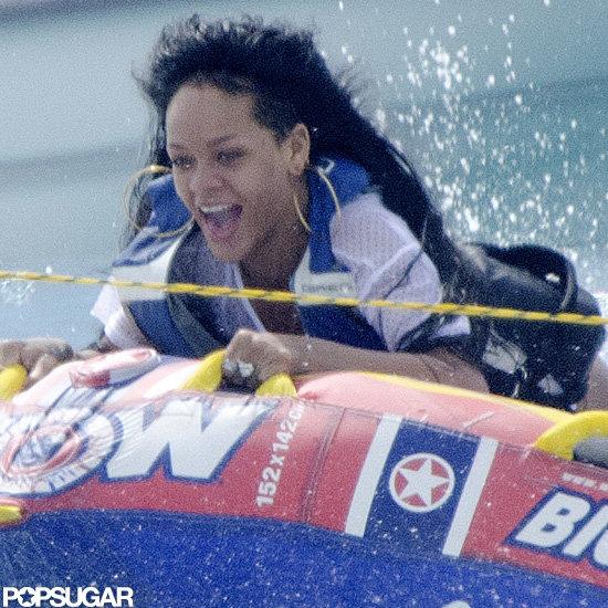 Rihanna went tubing in Barbados.