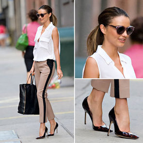 Miranda Kerr Leaves Photoshoot in NYC in ALC side-stripe Trousers and Equipment Shirt: Steal her Off-Duty Style