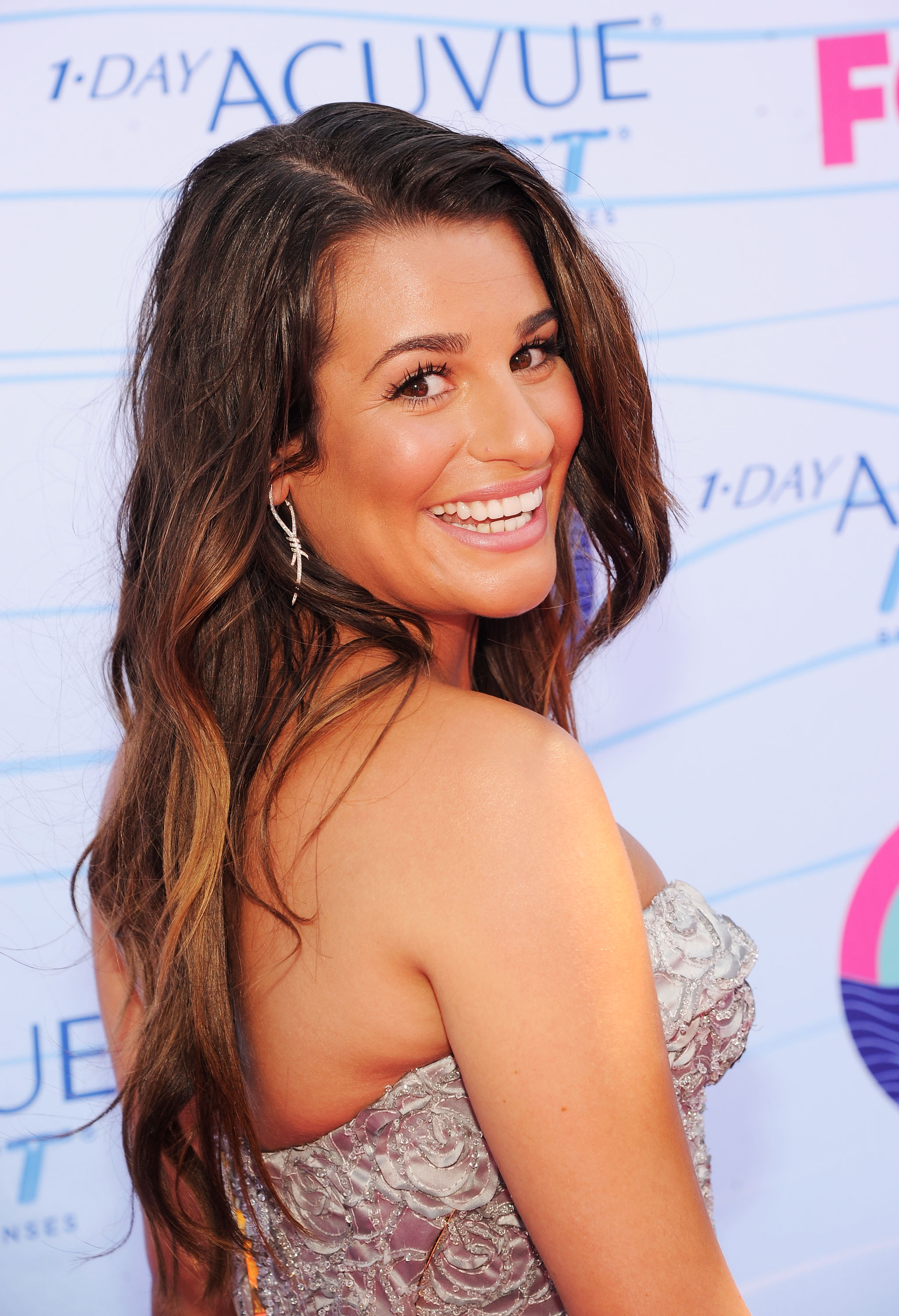 Lea Michele looked happy at the Teen Choice Awards.