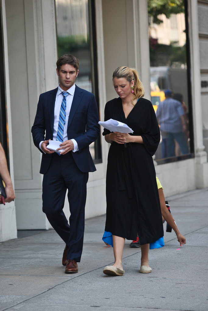 Chace Crawford and Blake Lively shot a scene together in NYC.
