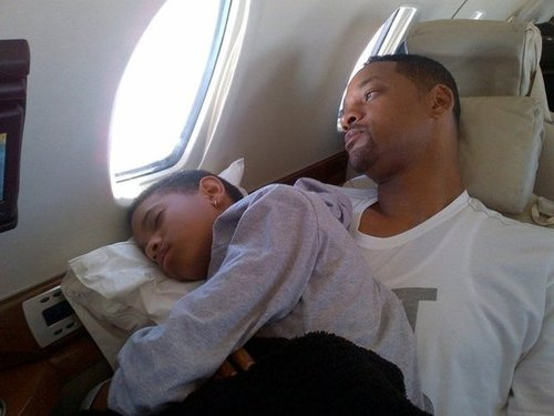 Willow Smith fell asleep on her dad Will's lap during a flight in July. Source: Twitter user jadapsmith