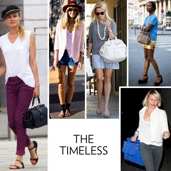 You're never without a sleek, go-with-everything tote or duffel. While your affinity to classic shapes can veer into luxe territory, it's not necessarily about the status of an iconic bag for you. Rather, it's about a minimalist shape, a size that befits functionality, and a polished finish that completes your low-key (but always chic) style. You're the kind of style-setter that is drawn to timeless, clean, sophisticated silhouettes, no matter what the occasion, the season, or the color palette calls for. You love jet-setting to Paris for walks on the Seine, trips to the Musée d'Orsay, and shopping expeditions in Le Marais. When you're not partaking in European adventures, you're brushing up on classic lit, grabbing espresso with friends, and looking effortlessly stylish at the office.    The Bags You Love: Givenchy Antigona (or the Nightingale), Sofia Coppola for Louis Vuitton duffel tote, Salvatore Ferragamo calfskin shoulder bag, and every Jason Wu Jourdan iteration.  Iconic Inspiration: There's not many that can top Jackie O. or Audrey Hepburn's classic approach to style, but Diane Kruger, Reese Witherspoon, and Emma Stone certainly provide a new foundation for timeless handbag inspiration.  What's on Your iPod: The Beatles, Lauryn Hill, Chopin, Alabama Shakes, and Coldplay.   In this photo (clockwise from left): Diane Kruger, NYC style-setter, Rachel Bilson, Reese Witherspoon, Shala Monroque, and Cameron Diaz