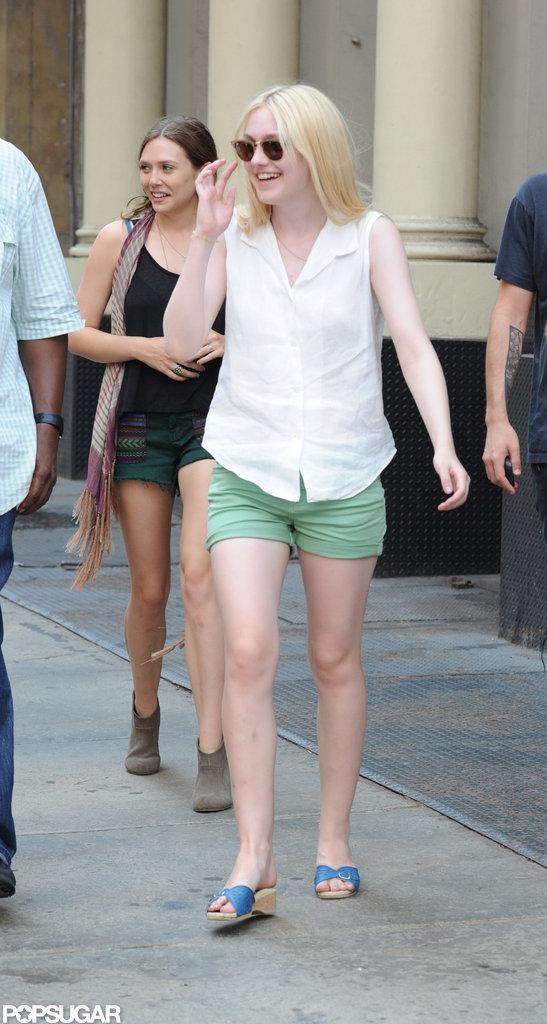 Dakota Fanning on the set of her new film Very Good Girls.