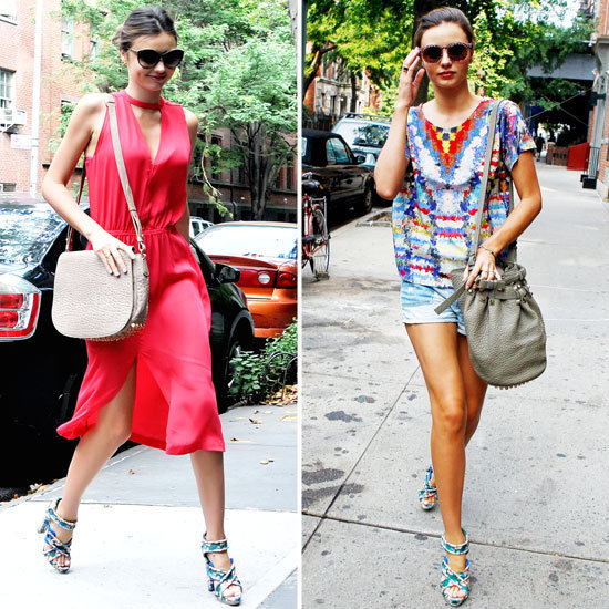 Miranda Kerr Wearing Colorful Printed Balenciaga Sandals
