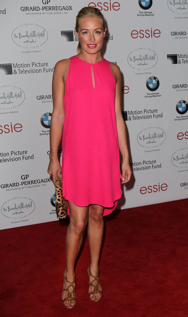 Cat Deeley made a hot pink statement in this keyhole-accented minidress at a cocktail party in June.